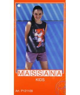 Pyjama fille Massana pantalon court d'été marron avec dessin taille 14