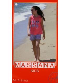 Pijama de niña Massana verano pantalón corto color rosa con dibujo talla 12