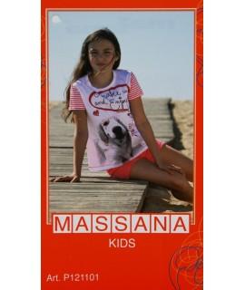 Pijama de niña Massana verano pantalón corto color blanco con dibujo talla 14