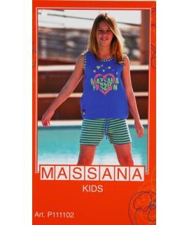 Pijama de nena Massana estiu pantalons curts color blau elèctric talla 16