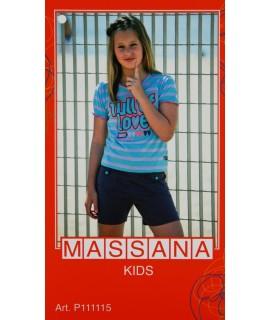 Pijama de nena Massana estiu pantalons curts color blau talla 16