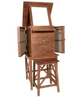 boîte à bijoux en bois avec siège