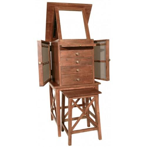 Joyero de madera con asiento