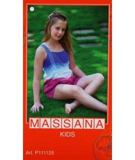 Pijama para niña Massana de verano pantalón corto color azul y rosa. Talla 16