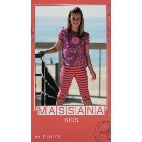 Pijama de niña Massana verano pantalón 3/4 color fucsia talla 16