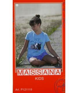 Pijama de niña Massana verano pantalón corto color turquesa talla 12