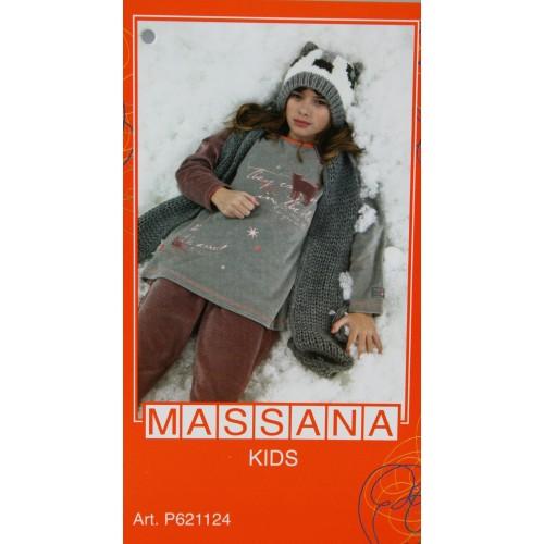 Pijama de niña Massana invierno pantalón largo color gris nube talla 10