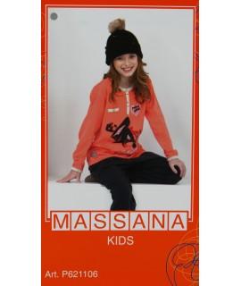 Pijama para niña Massana de invierno color coral intenso con estampado. Talla 10