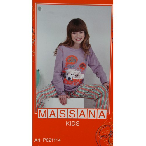 Pijama de niña Massana invierno pantalón largo color lila talla 14