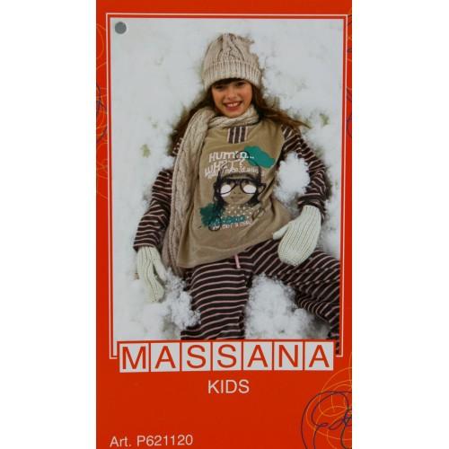 Pijama de niña Massana invierno pantalón largo color marrón talla 14
