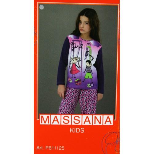 Pijama de niña Massana invierno pantalón largo color morado talla 16