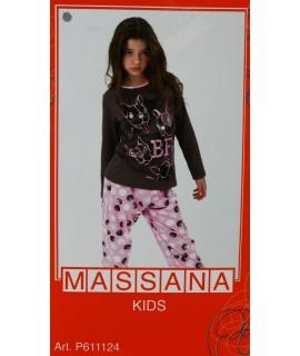 Pijama para niña Massana de invierno color rosa a topos con dibujo perritos. Talla 18