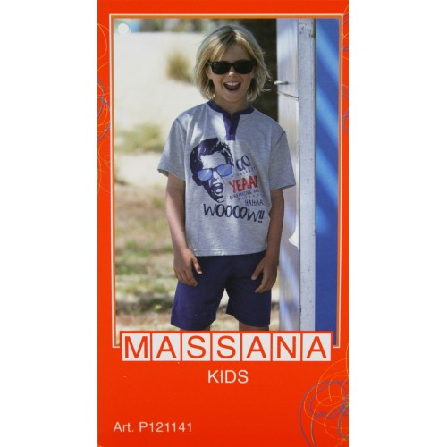 Pijama para niño Massana de verano pantalón corto color gris talla 12