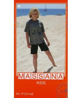 Pyjama d'été garçon Massana pantalon court gris taille 14