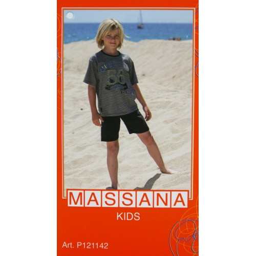 Pijama para niño Massana de verano pantalón corto color gris talla 14