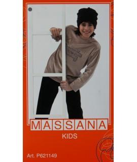 Pyjama garçon hiver Massana long pantalon gris taille 10