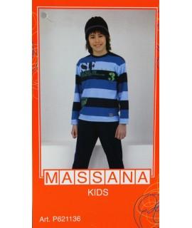 Pyjama d'hiver garçon Massana pantalon long bleu taille 10
