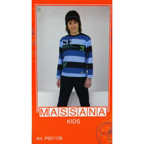 Pijama para niño Massana de invierno pantalón largo color azul talla 10
