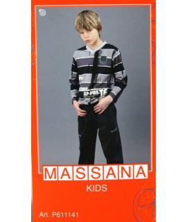 Pyjama d'hiver pour garçon Massana long pantalon gris avec imprimé taille 14