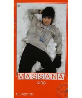 Pyjama d'hiver pour garçon Massana pantalon long bleu avec imprimé taille 14