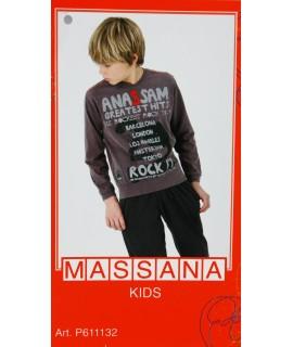 Pijama para niño Massana de invierno pantalón largo color gris plomo con estampado. Talla 16