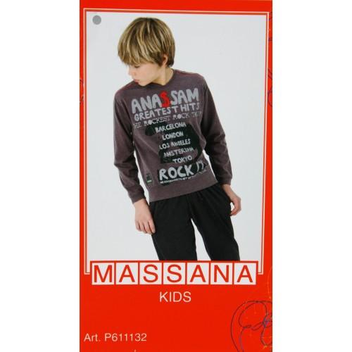 Pijama para niño Massana de invierno pantalón largo color gris con estampado talla 16