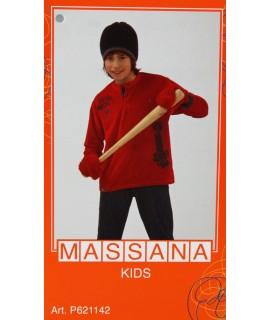 Pyjama d'hiver pour garçon Massana long pantalon rouge foncé avec imprimé taille 18