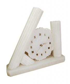 Horloge de table artisanale en pierre d'albâtre décoration de la maison