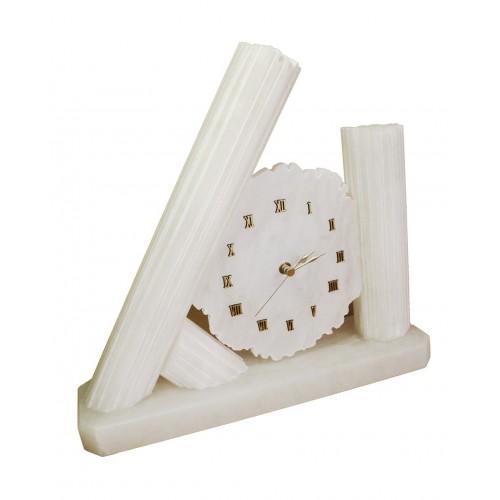 Reloj de sobremesa artesanal de piedra de alabastro decoración hogar