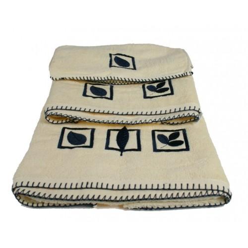 ensemble 3 pi ces serviettes de bain originale cru cadeau de coton. Black Bedroom Furniture Sets. Home Design Ideas