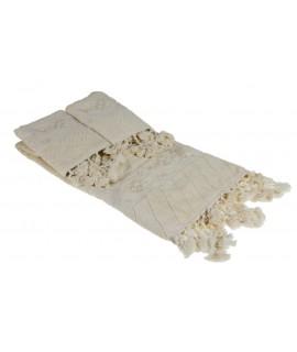 Juego de toallas de baño color crudo con cenefa ambiente estilo rustic