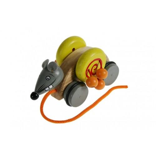 Juguete arrastre madera forma raton juego de cuerda para niños niñas