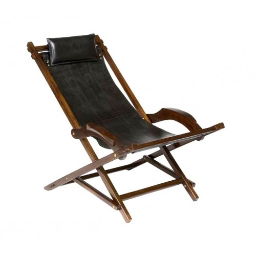 lounger avec du cuir de l 39 appui t te et de bois de teck rustique. Black Bedroom Furniture Sets. Home Design Ideas