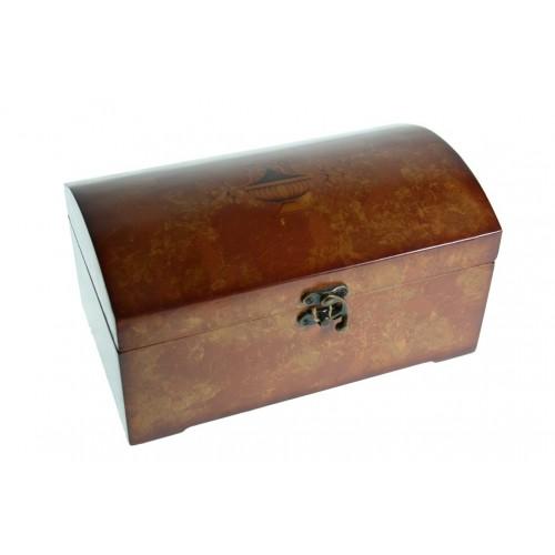 Cofre joyero de madera color cerezo forro interior