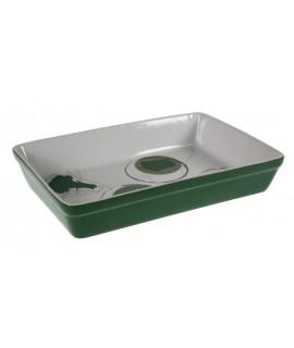 Bandeja rectangular para horno microondas de cerámica color verde estilo vintage. Medidas: 6x30x20 cm.
