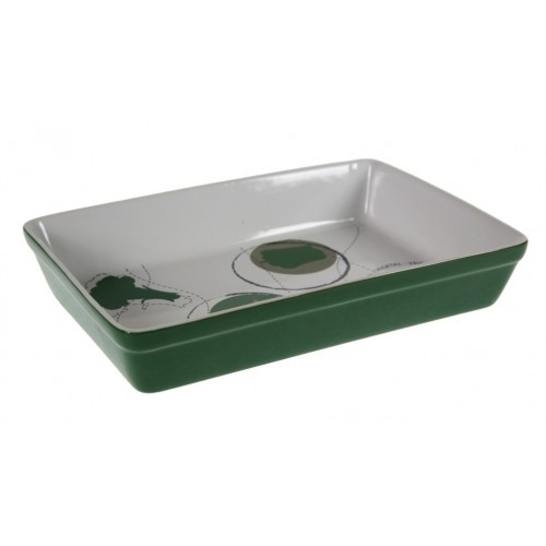 Bandeja rectanagular cerámica para horno microondas menaje de cocina color verde vintage