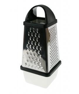 Rallador grande de cocina inoxidable con recogedor desmontable utensilio menaje. Medidas: 26x14x14 cm.