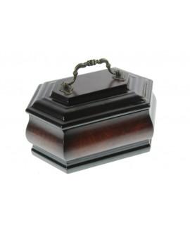 Cofre urna petita de fusta color noguera amb nansa decoració clàssic