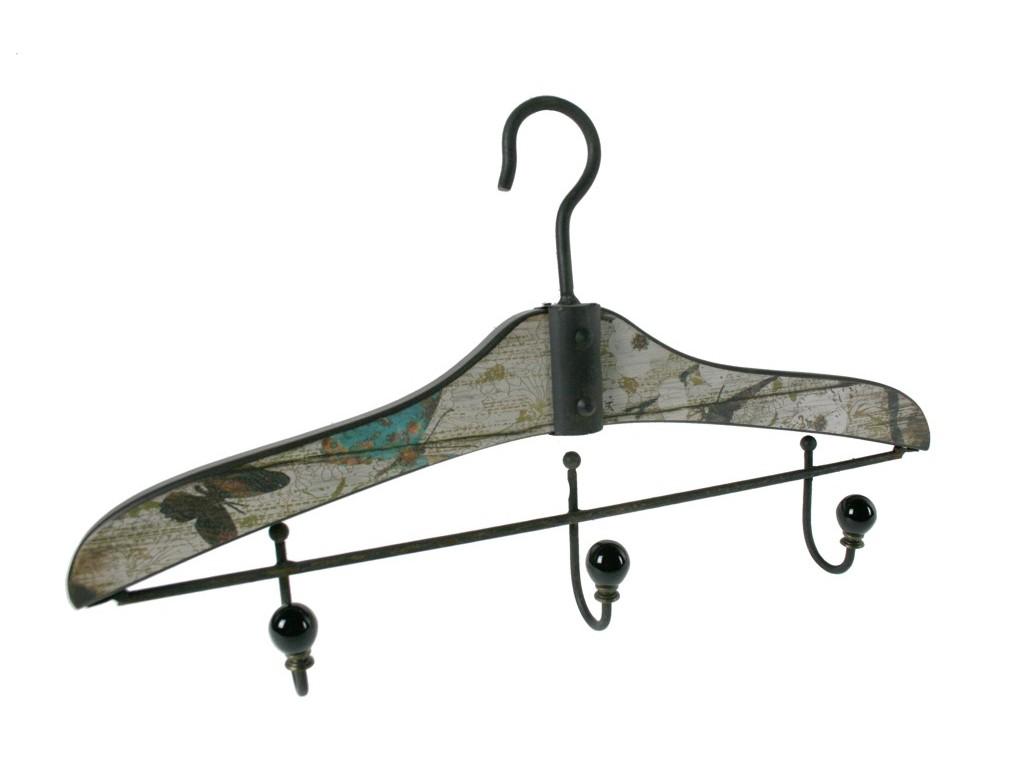 Colgador perchero de madera con forma de percha decorado