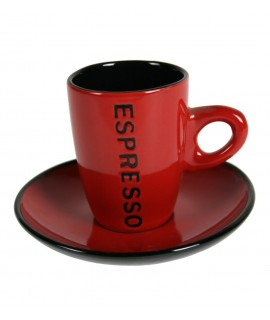 Taza de café Espresso con plato color rojo. Medidas conjunto: 8xØ 11 cm.