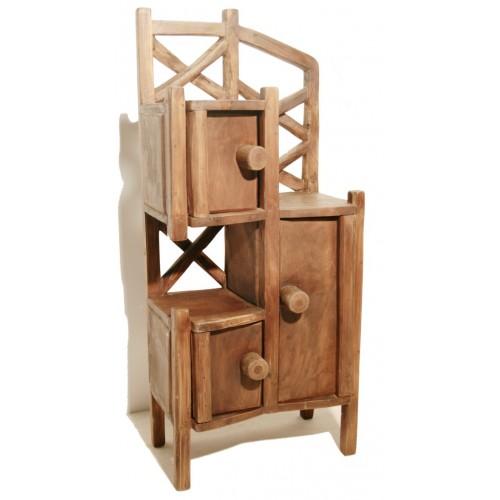 Mueble primitivo de teka con estantes y armarios for Mueble auxiliar rustico