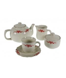 Juego de café y té de 15 piezas de cerámica y decoración flores de estilo rustico menaje de mesa.