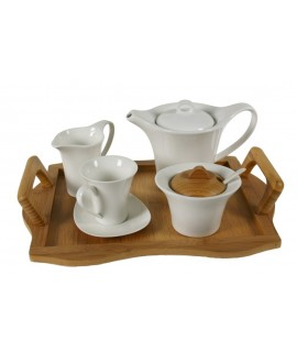 Joc de cafè 12 peces ceràmica blanca amb safata de fusta
