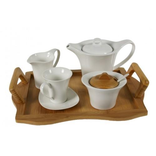 Juego de café de 12 piezas de cerámica blanca con bandeja de madera de bambú servicio de mesa