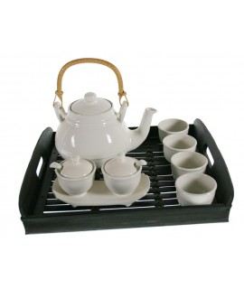 Conjunto Té Porcelana blanca con Bandeja de bambú 4 servicios estilo clásico servicio de mesa