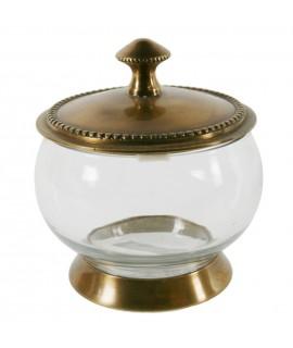 Azucarera de vidrio y tapa de metal estilo vintage menaje de cocina