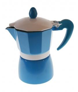 Cafetera aluminio para dos tazas de café de color azul menaje de cocina. Medidas: 16x9x9x cm.