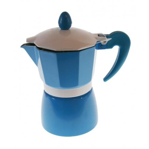 Cafetera para dos tazas de café de color azul y estructura de aluminio para café tradicional menaje de cocina
