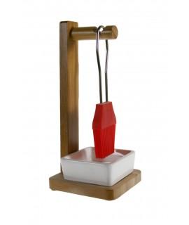 Pinzell per a rebosteria i cuina de silicona amb suport de fusta de bambú i plat de ceràmica
