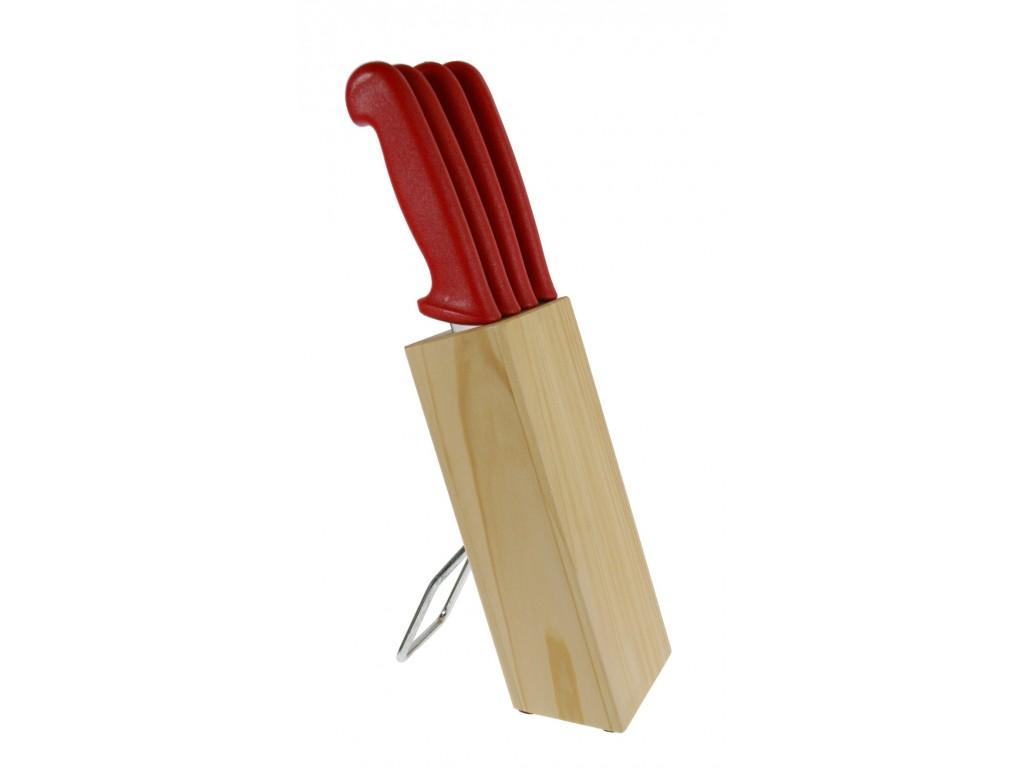 Juego de cuatro cuchillos cocina en soporte de madera